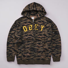 Obey Core Zipped Hooded Sweatshirt Tiger Camo
