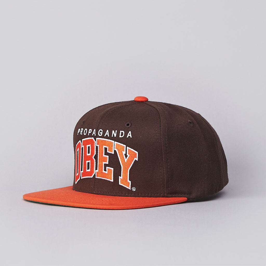 Obey Throwback Snapback Cap Brown