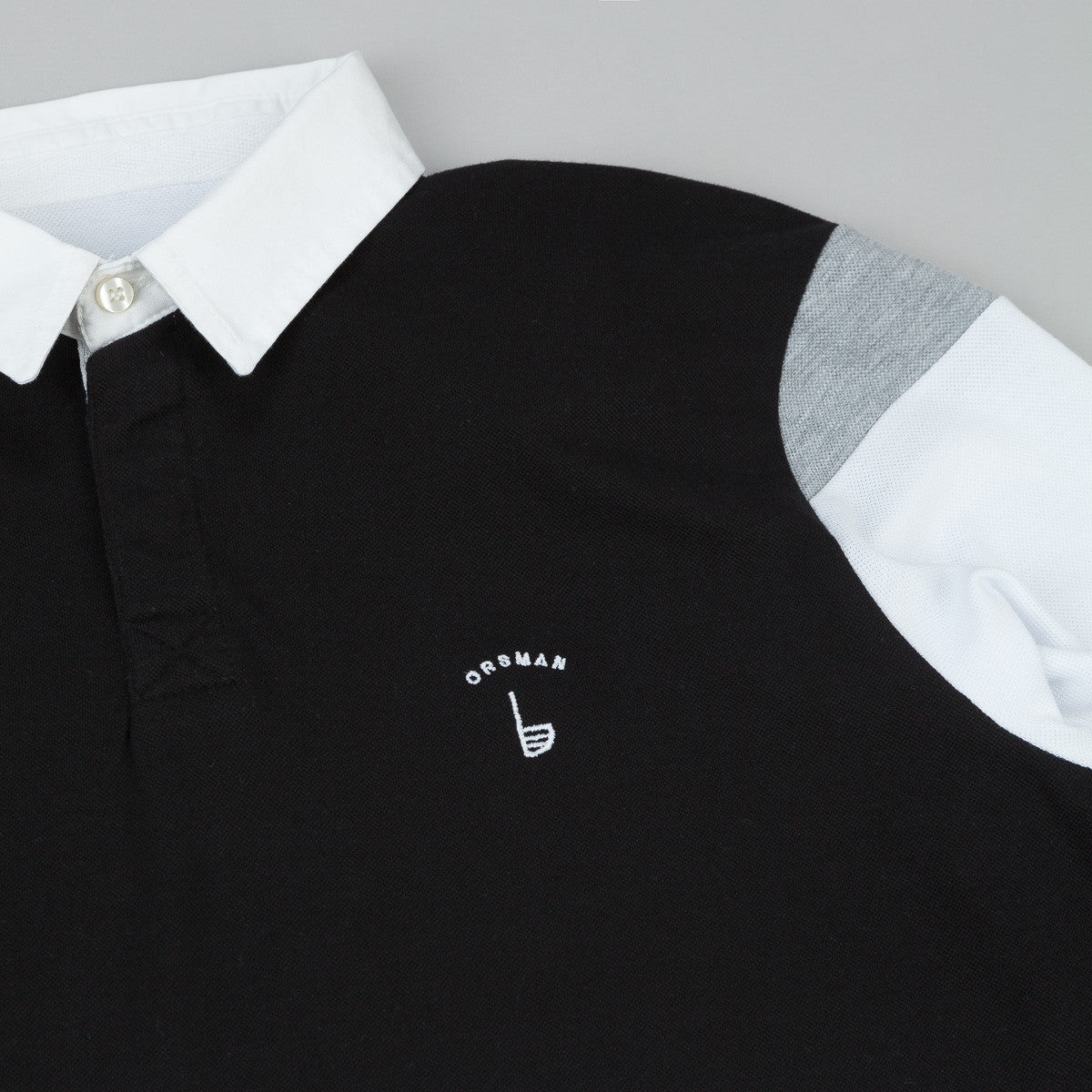 Orsman Long Sleeve Polo Shirt - Black / White / Grey