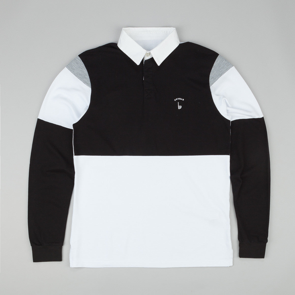 Orsman L/S Polo Shirt - Black / White / Grey