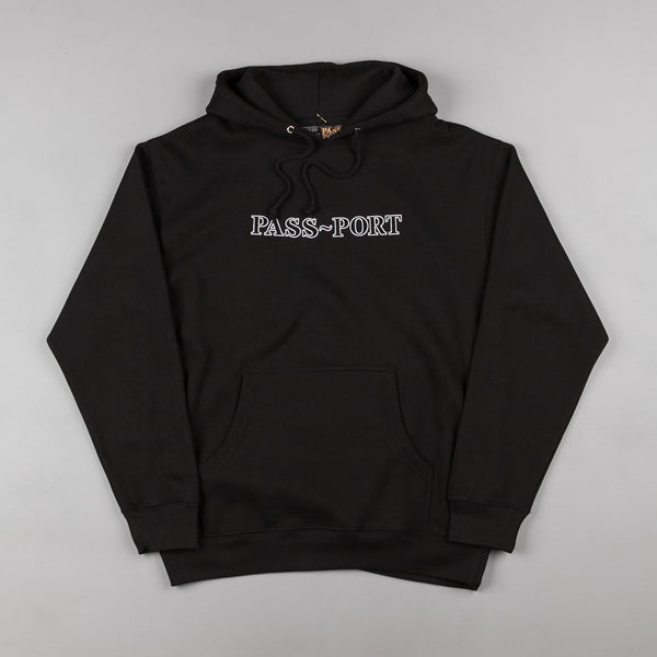 Pass Port Official Outline Embroidery Hooded Sweatshirt - Black