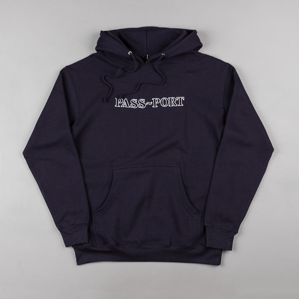 Pass Port Official Outline Embroidery Hooded Sweatshirt - Navy