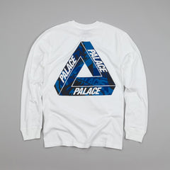 Palace L/S One Wave Blue T Shirt White