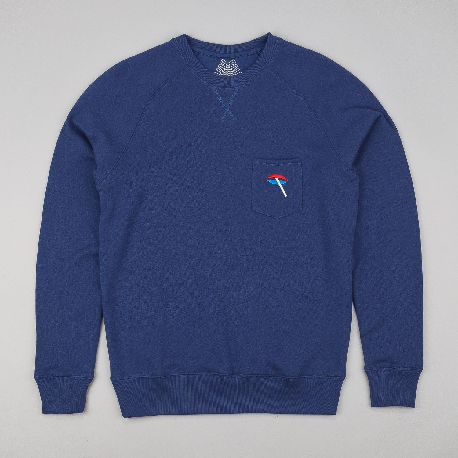 Palace Lips Crew Neck Sweatshirt - Blue
