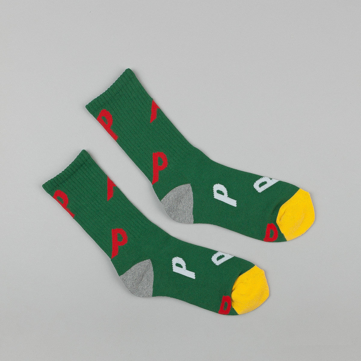 Palace P All Over Socks - Green / White / Red