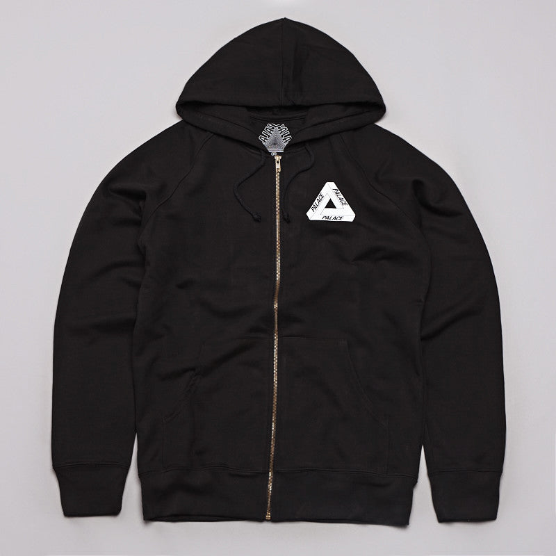 Palace Tri-Line Zipped Hooded Sweatshirt Black