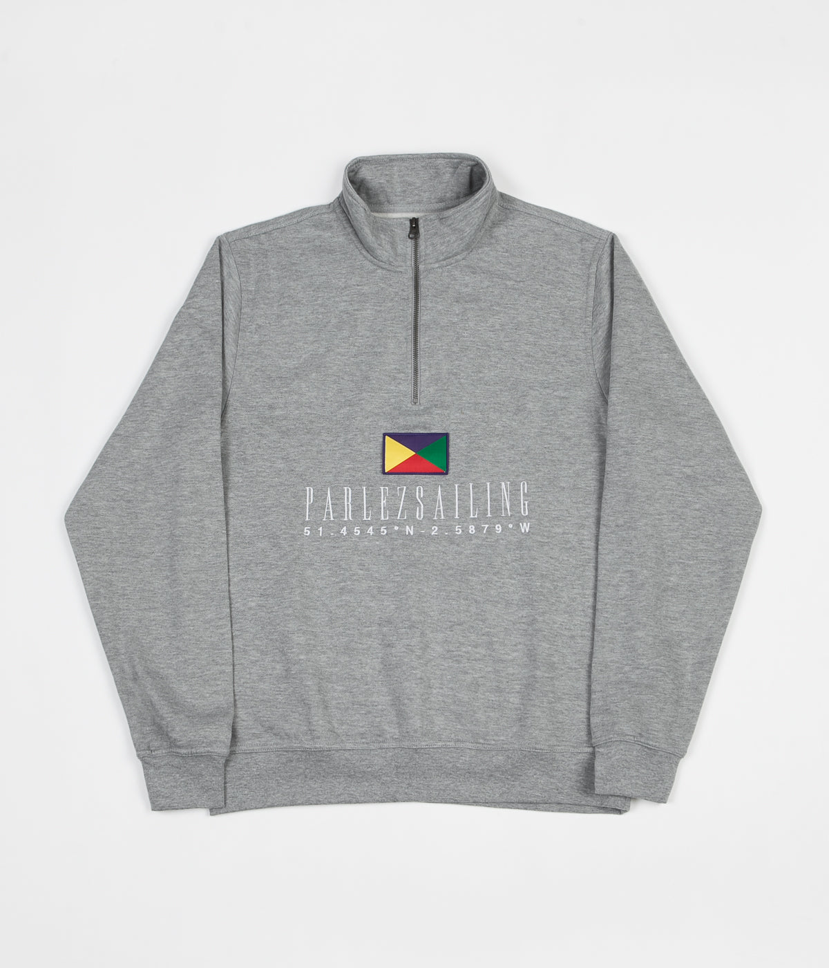 Parlez x Flatspot Hanuman 1/4 Zip Sweatshirt - Heather Grey