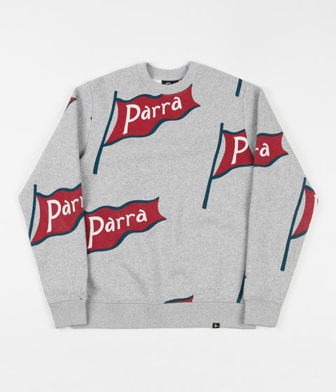 by Parra Flapping Flag Crewneck Sweatshirt - Heather Grey
