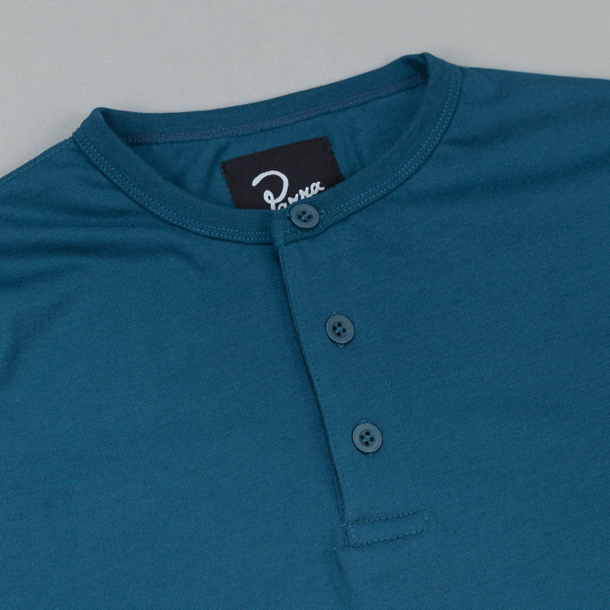 Parra Henley Long Sleeve T-Shirt - Mallard Green / Blue / Pink