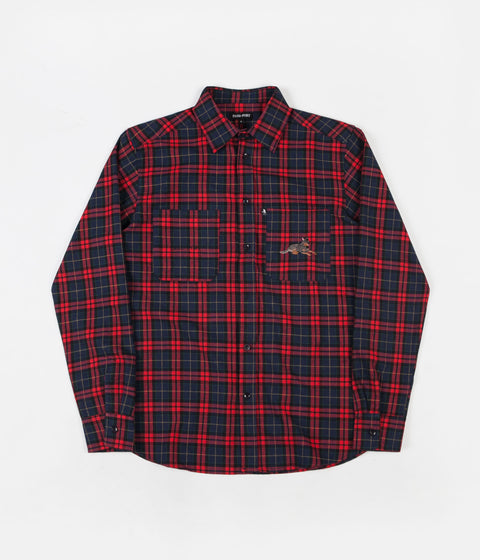 Pass Port Best Friend Embroidery Flannel Shirt - Red / Navy