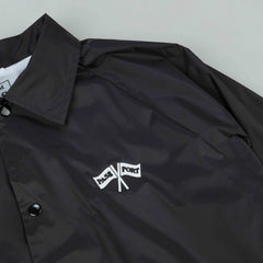Pass Port Cross Flags Coach Jacket - Black