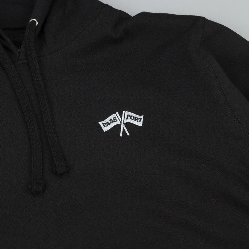 Pass Port Cross Flags Hooded Sweatshirt - Black