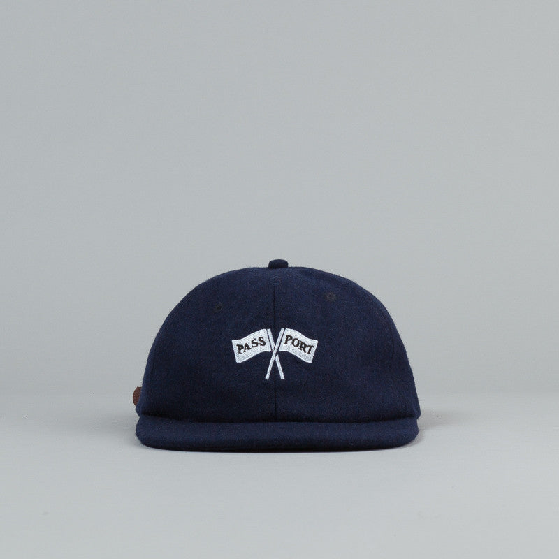 Pass Port Cross Flags Wool 6 Panel Cap - Navy