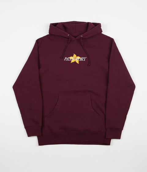 Pass Port Daffodil Applique Hoodie - Maroon