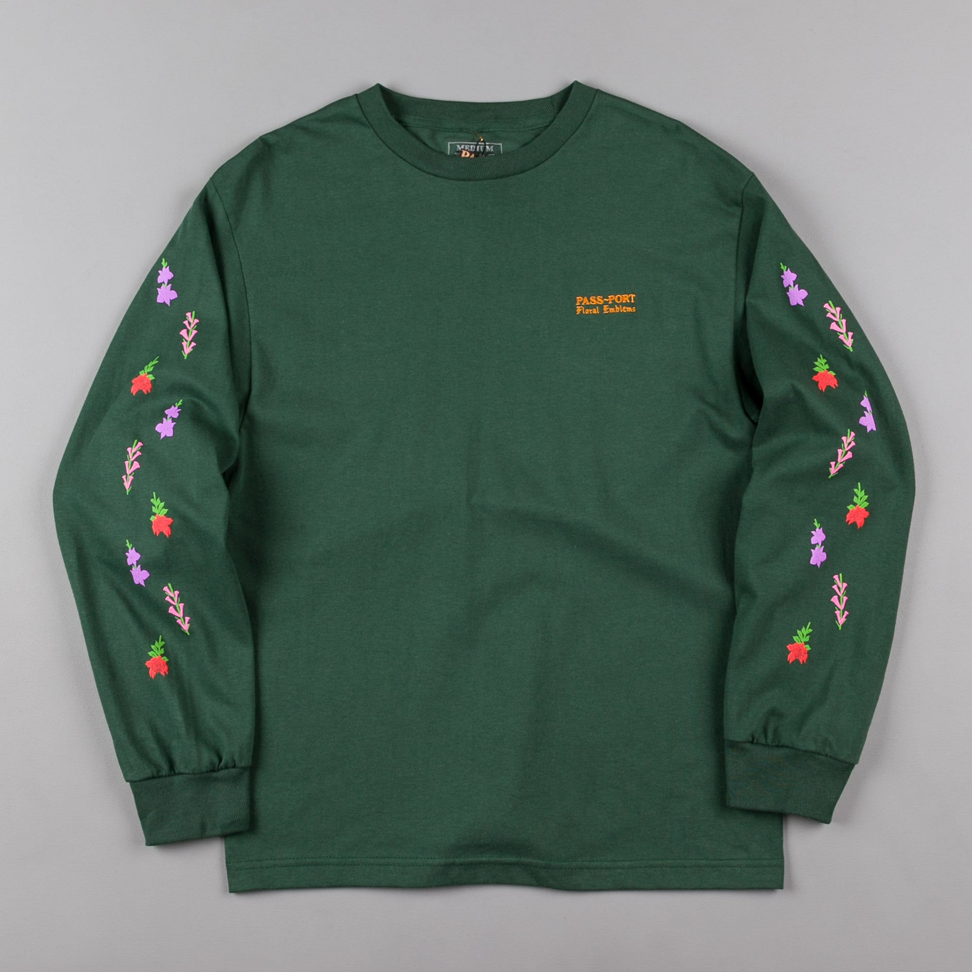 Pass Port Floral Emblems Long Sleeve T-Shirt - Forest Green