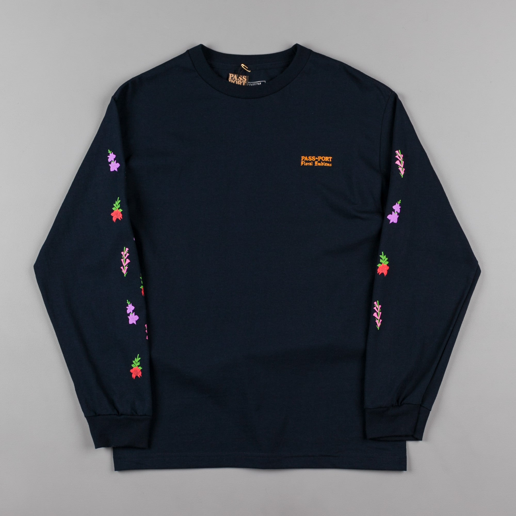 Pass Port Floral Emblems Long Sleeve T-Shirt - Navy