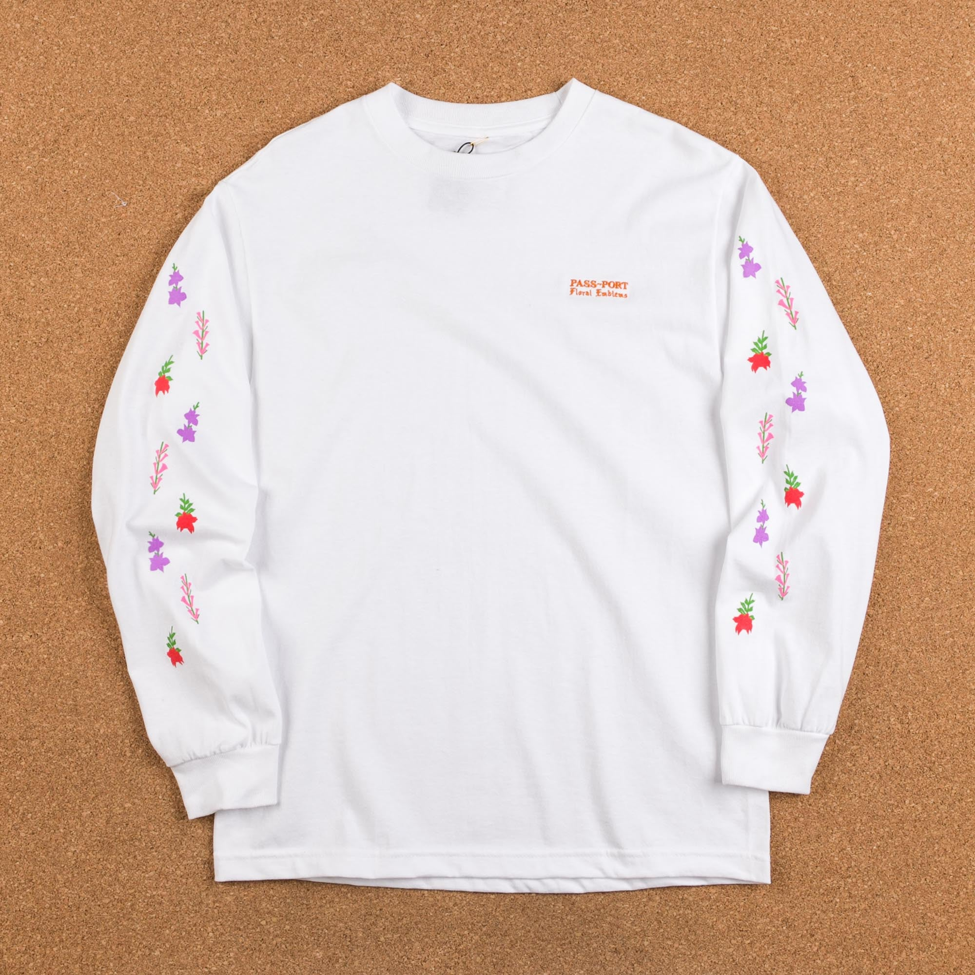 Pass Port Floral Emblems Long Sleeve T-Shirt - White