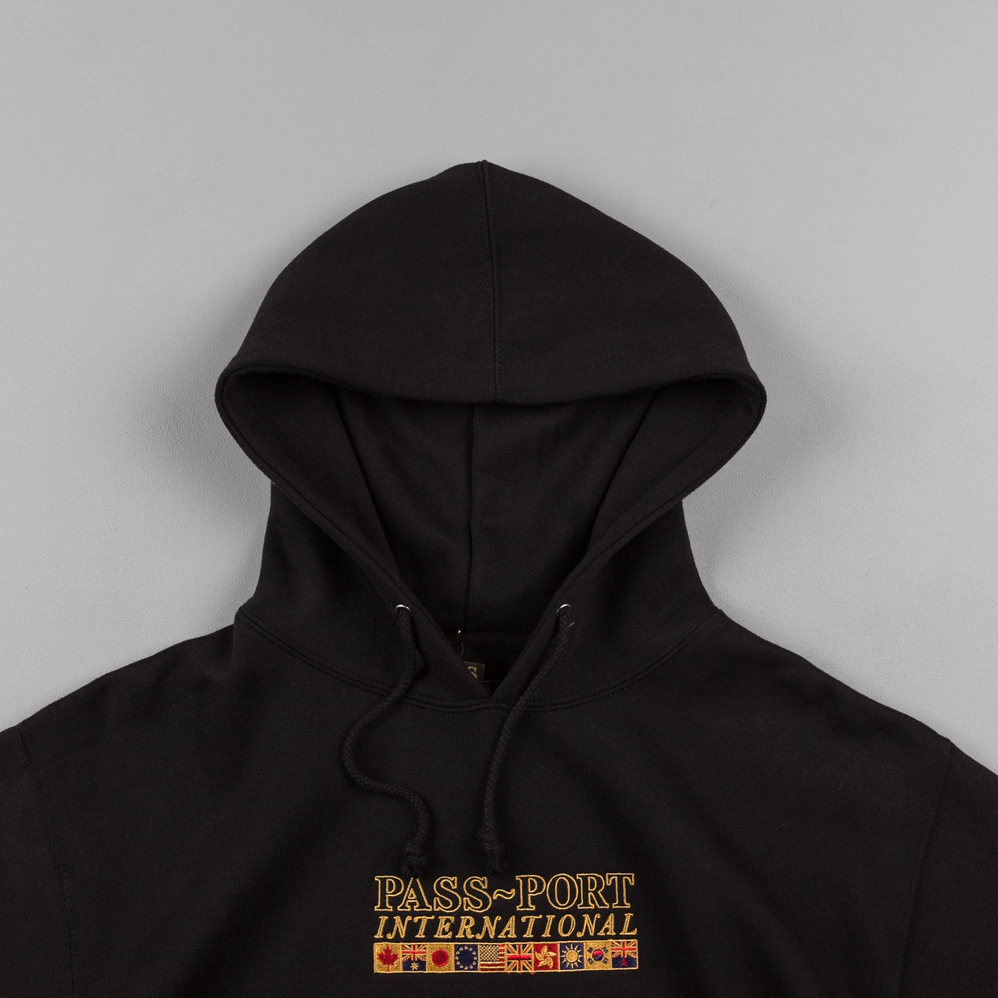 Pass Port International Embroidery Hooded Sweatshirt - Black