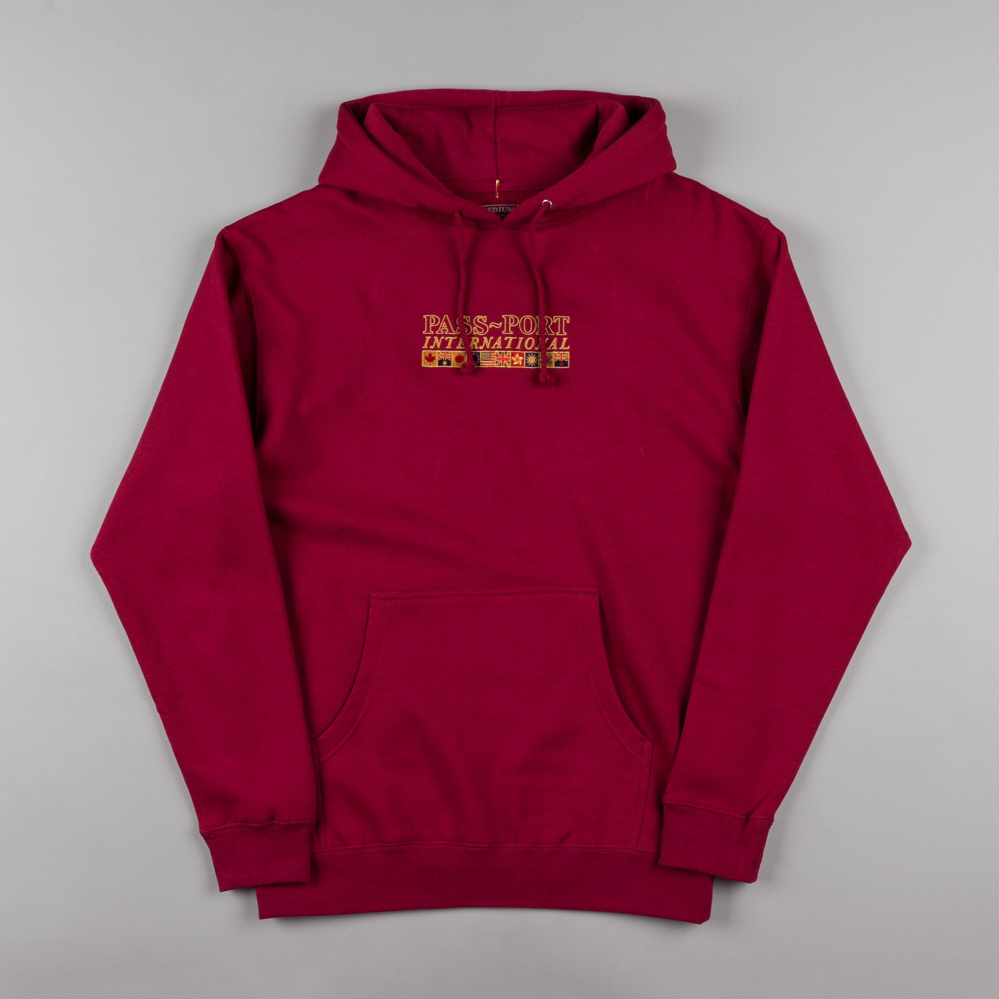 Pass Port International Embroidery Hooded Sweatshirt - Cardinal Red