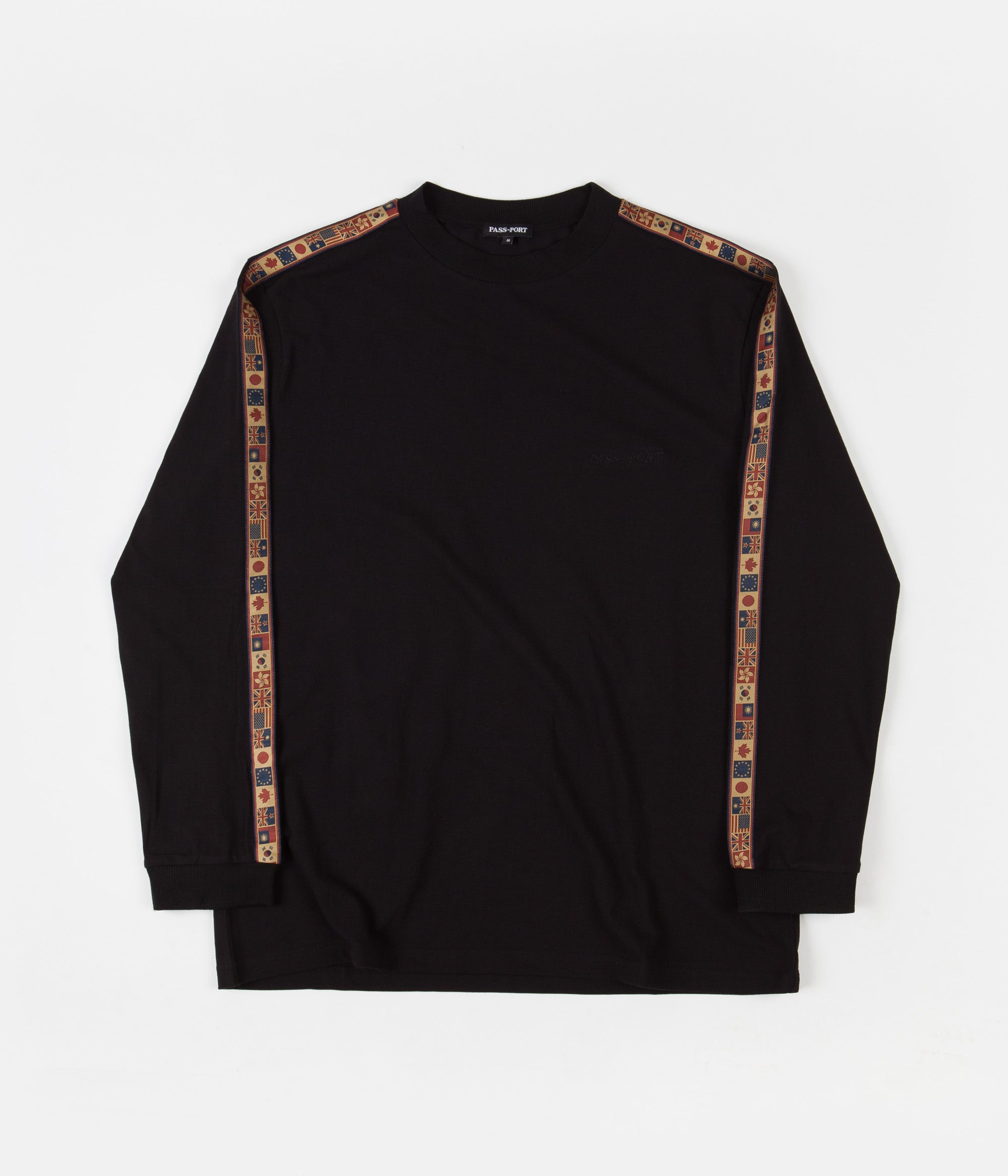 Pass Port International Embroidery Ribbon Long Sleeve T-Shirt - Black