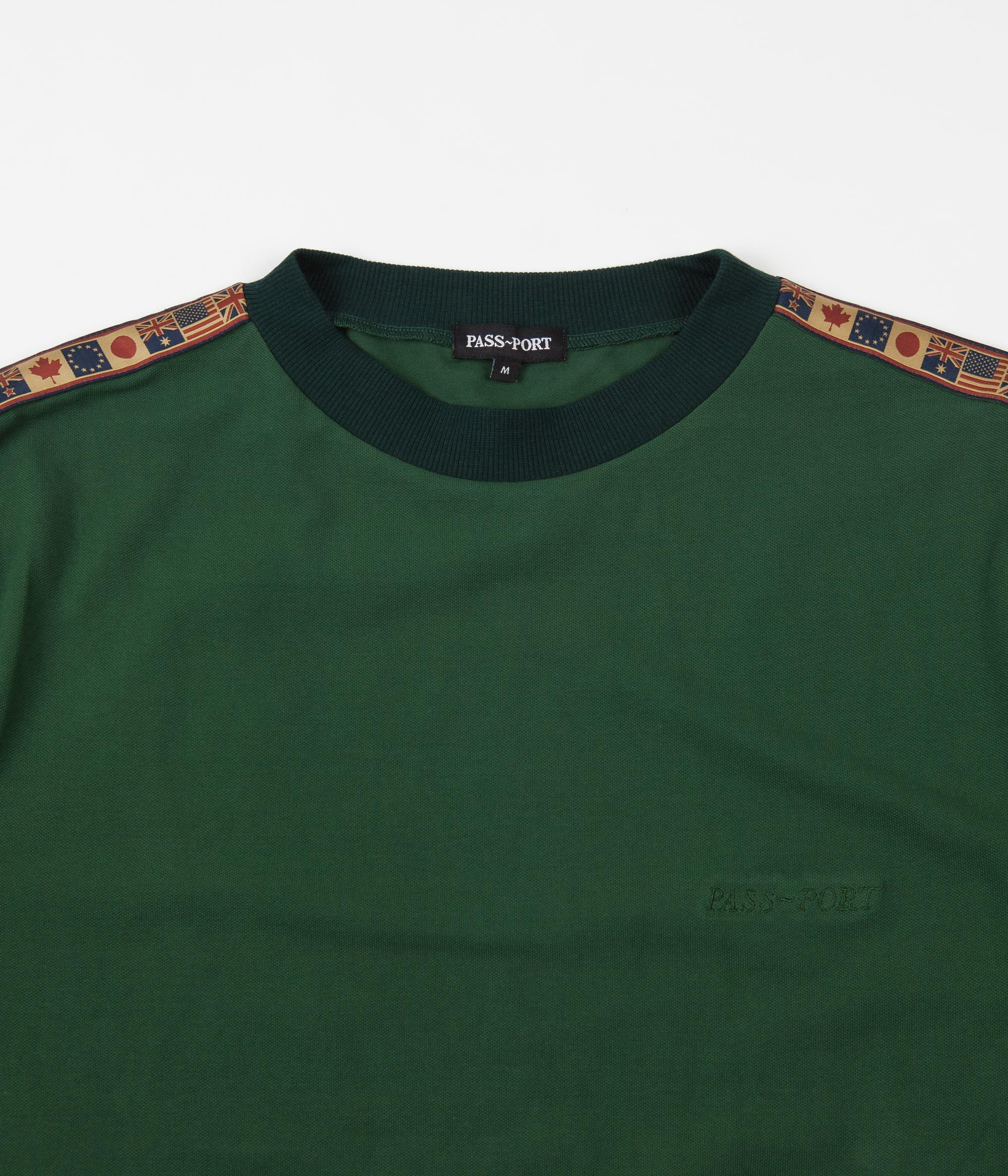 Pass Port International Embroidery Ribbon Long Sleeve T-Shirt - Forest Green