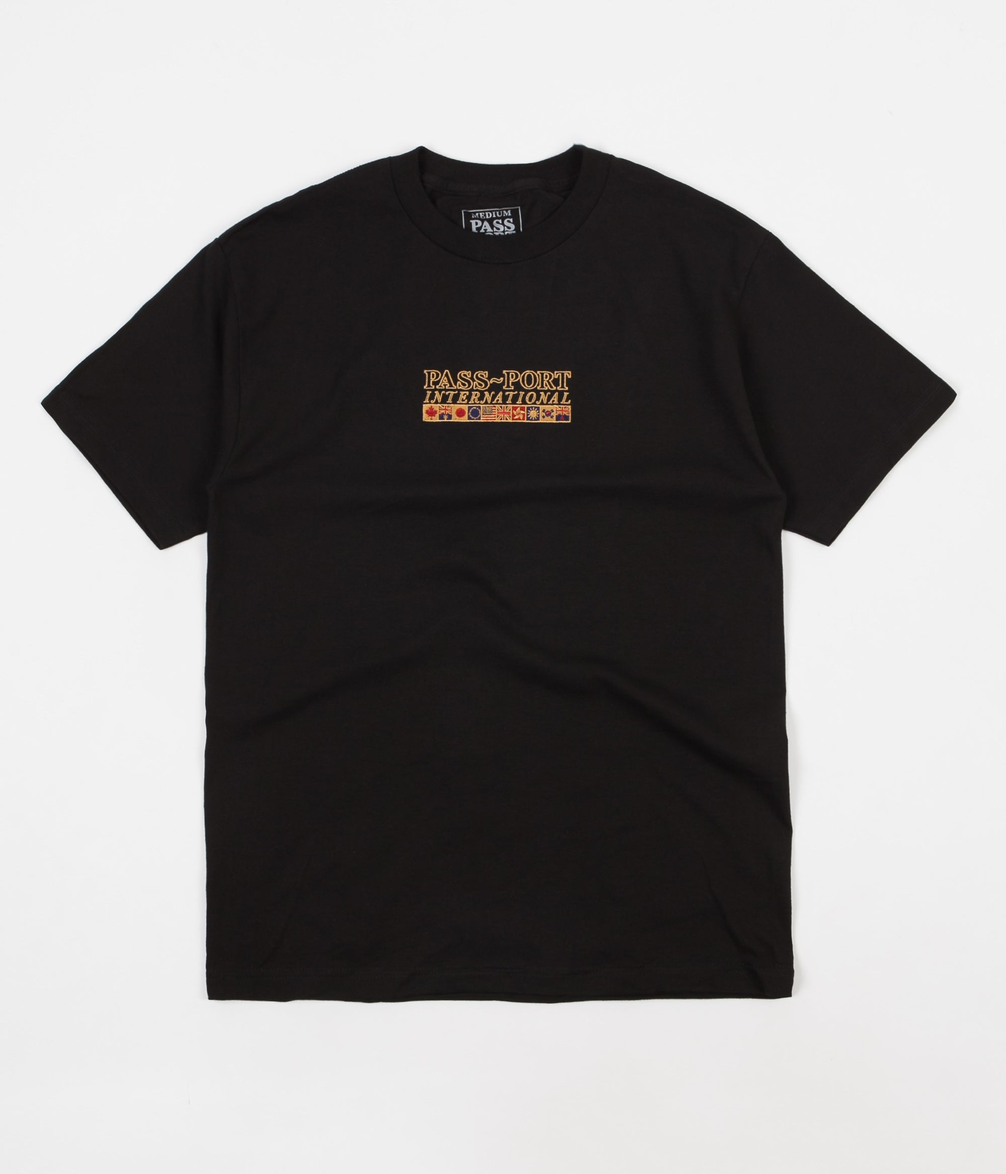 Pass Port International Embroidery T-Shirt - Black