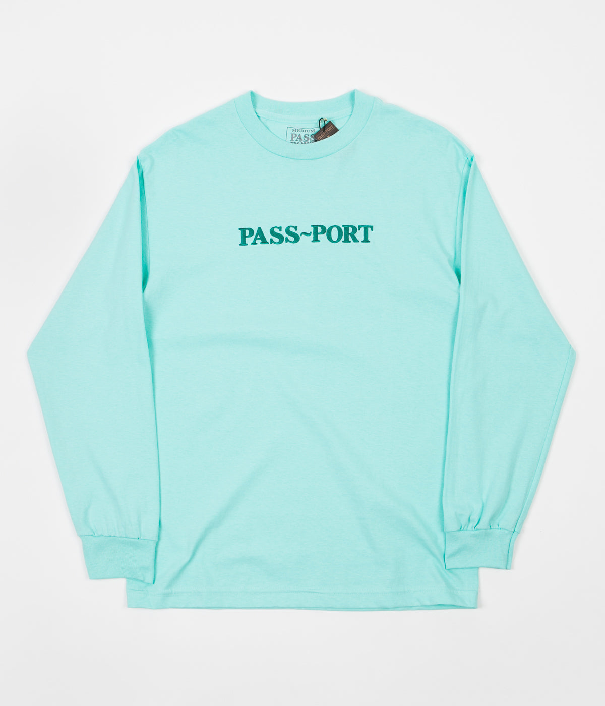Pass Port Official Embroidered Long Sleeve T-Shirt - Celadon