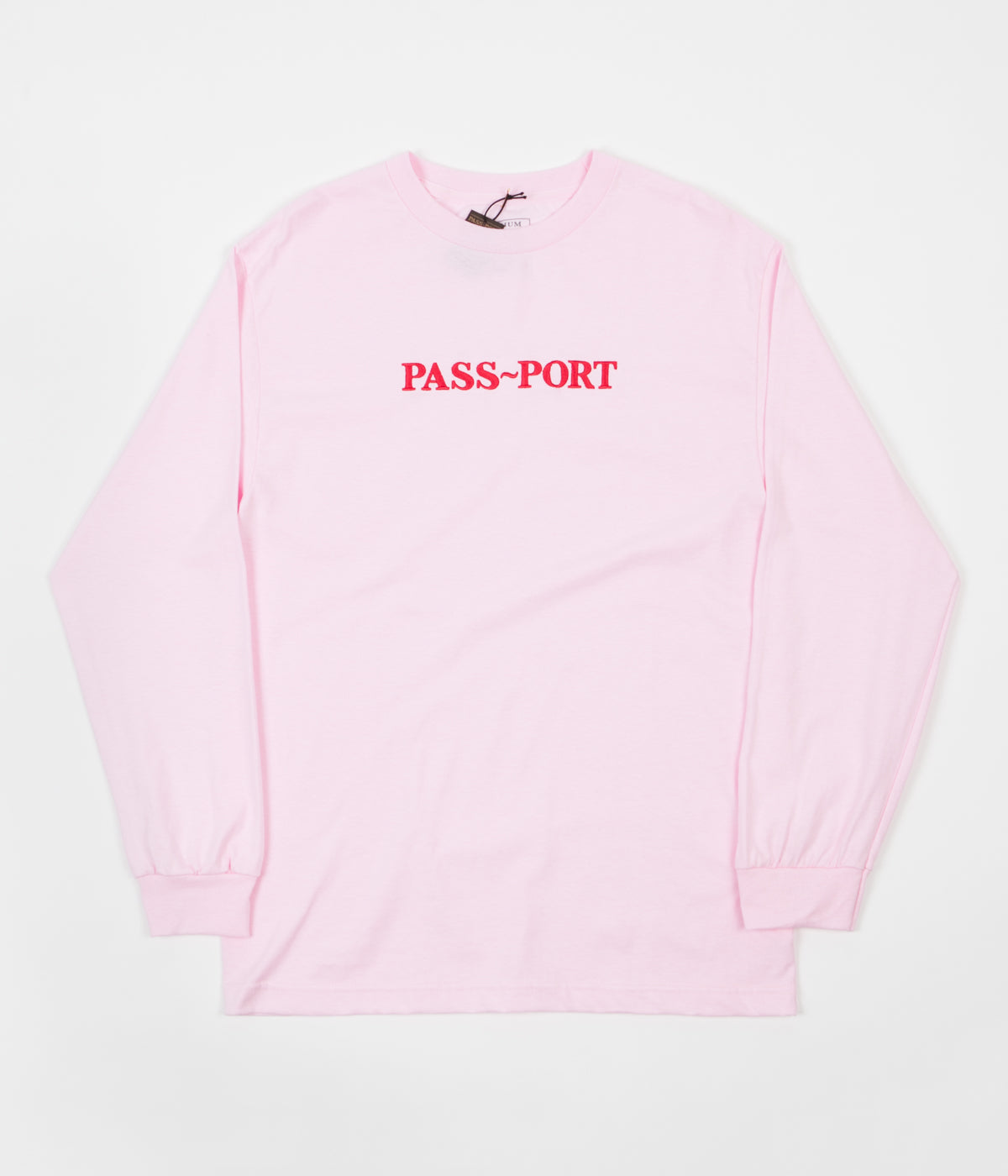 Pass Port Official Embroidered Long Sleeve T-Shirt - Hot Pink