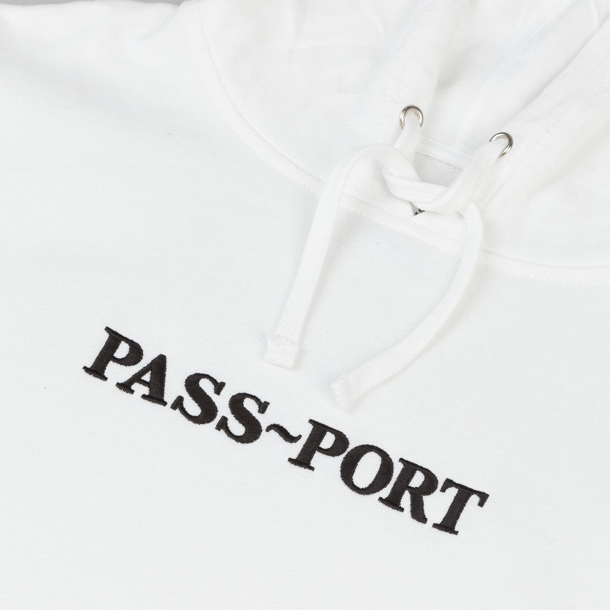 Pass Port Official Embroidery Hooded Sweatshirt - White