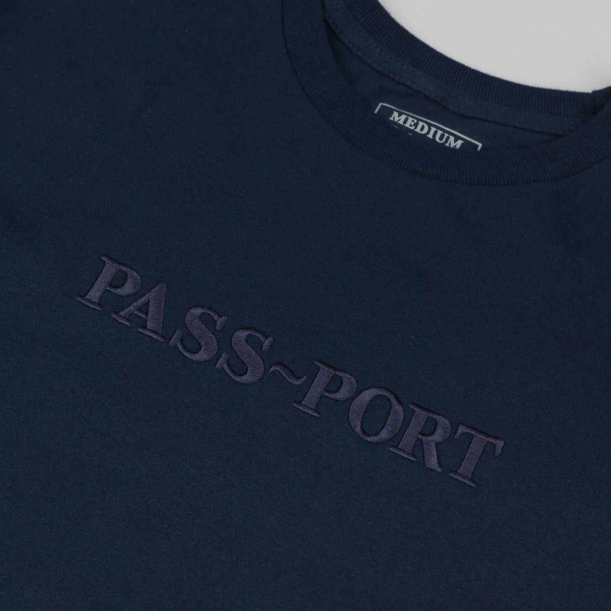 Pass Port Official Embroidery T-Shirt - Navy