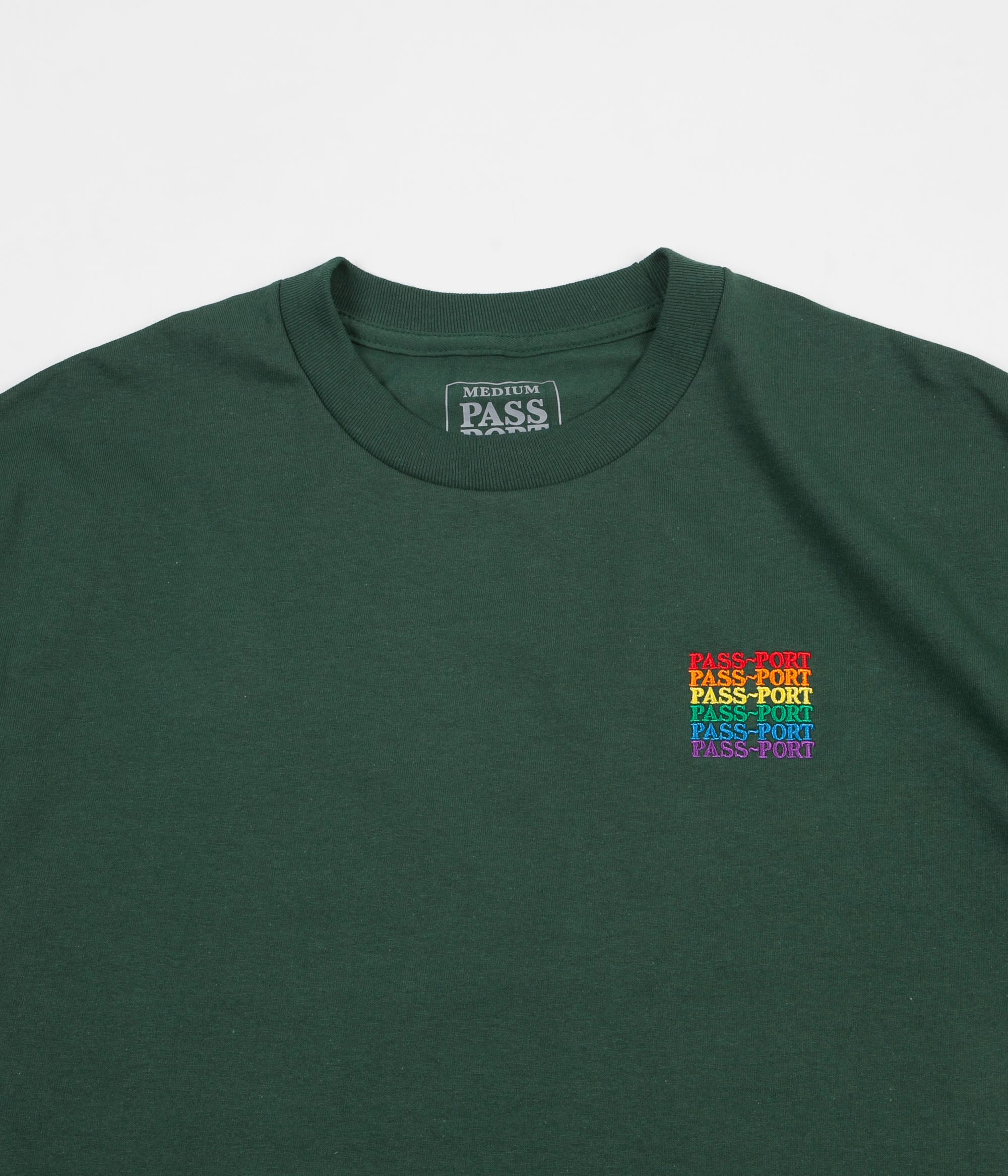Pass Port Official Repeat Embroidered T-Shirt - Forest Green