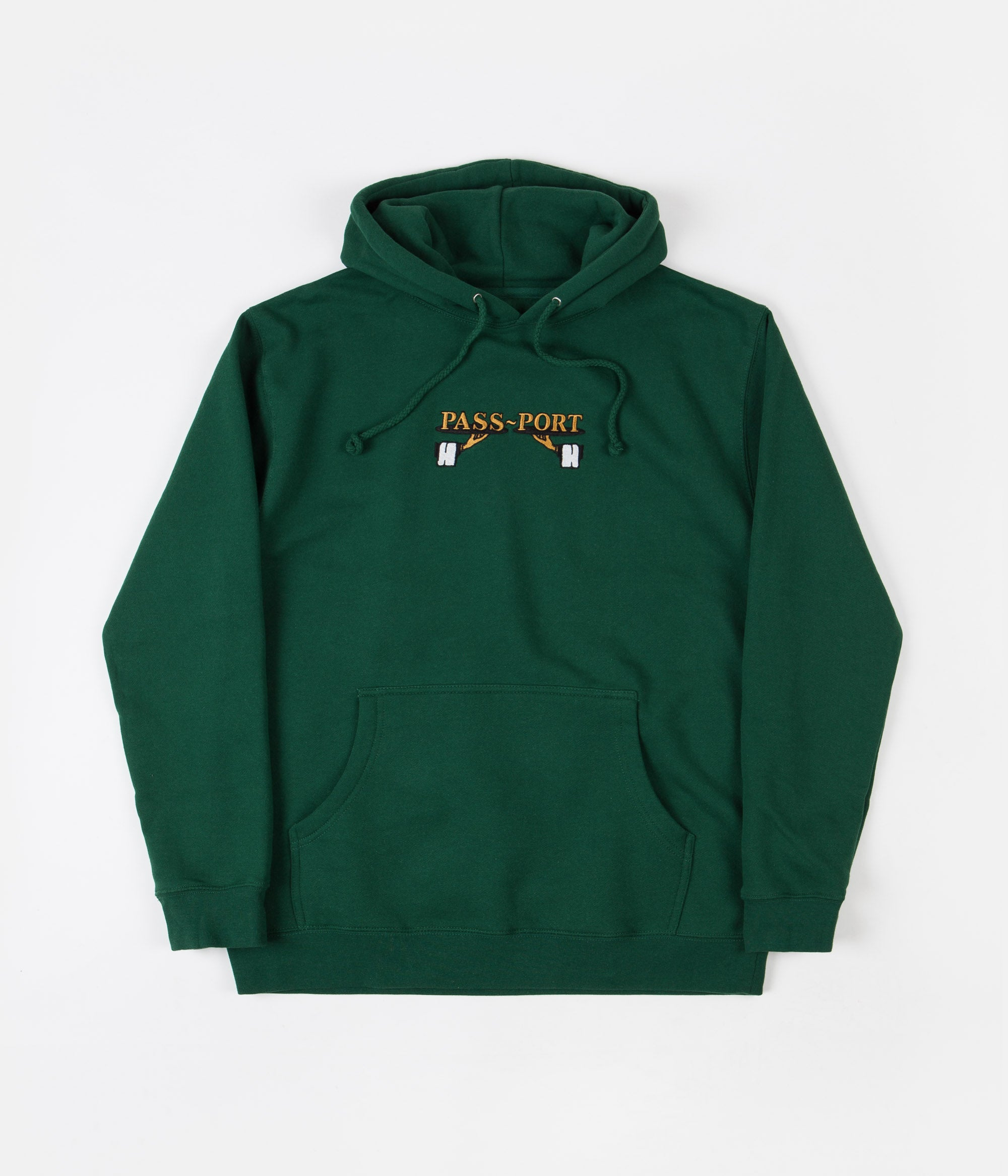 Pass Port Waiter Embroidery Hoodie - Forest Green