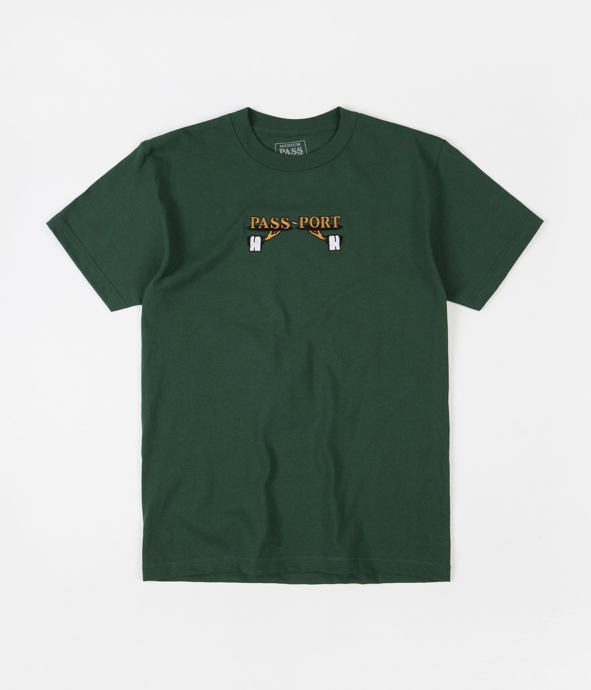 Pass Port Waiter Embroidery T-Shirt - Forest Green