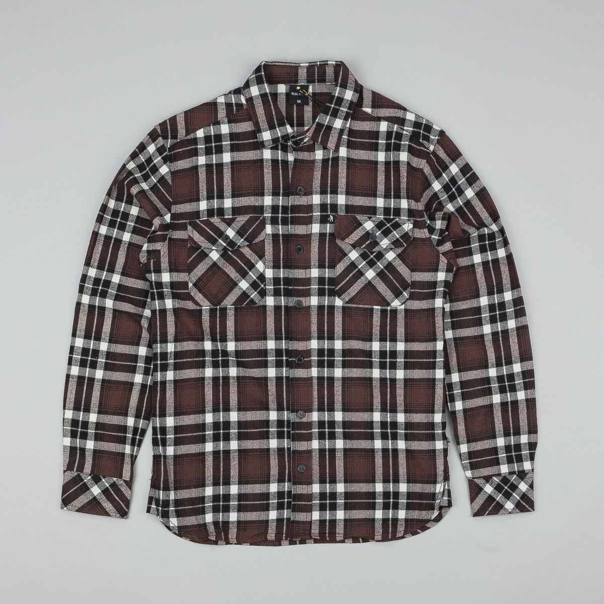 Pass Port Worker's Flannelette Shirt - Chocolate / Black