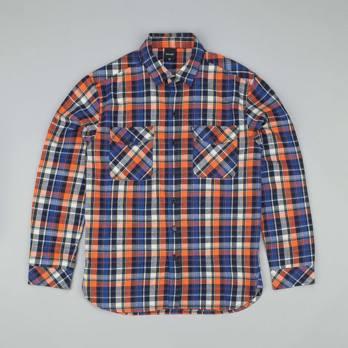 Pass Port Worker's Flannelette Shirt - Orange / Navy