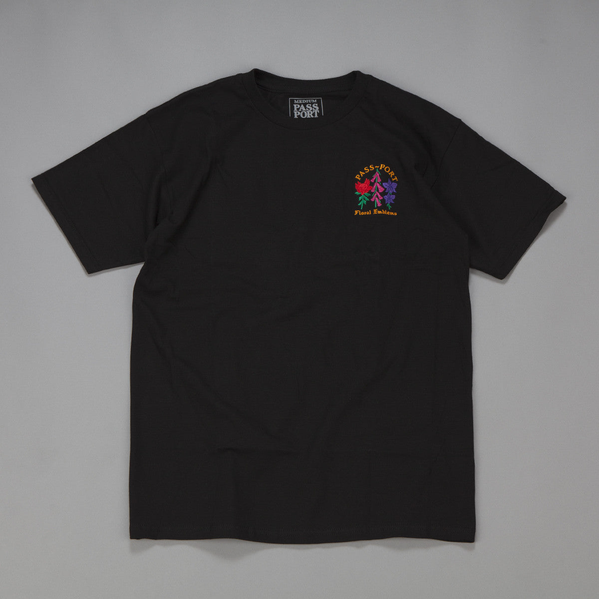 Pass Port Emblem Embroidered T-Shirt