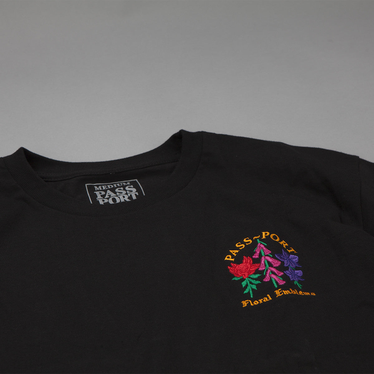 Pass Port Emblem Embroidered T-Shirt - Black