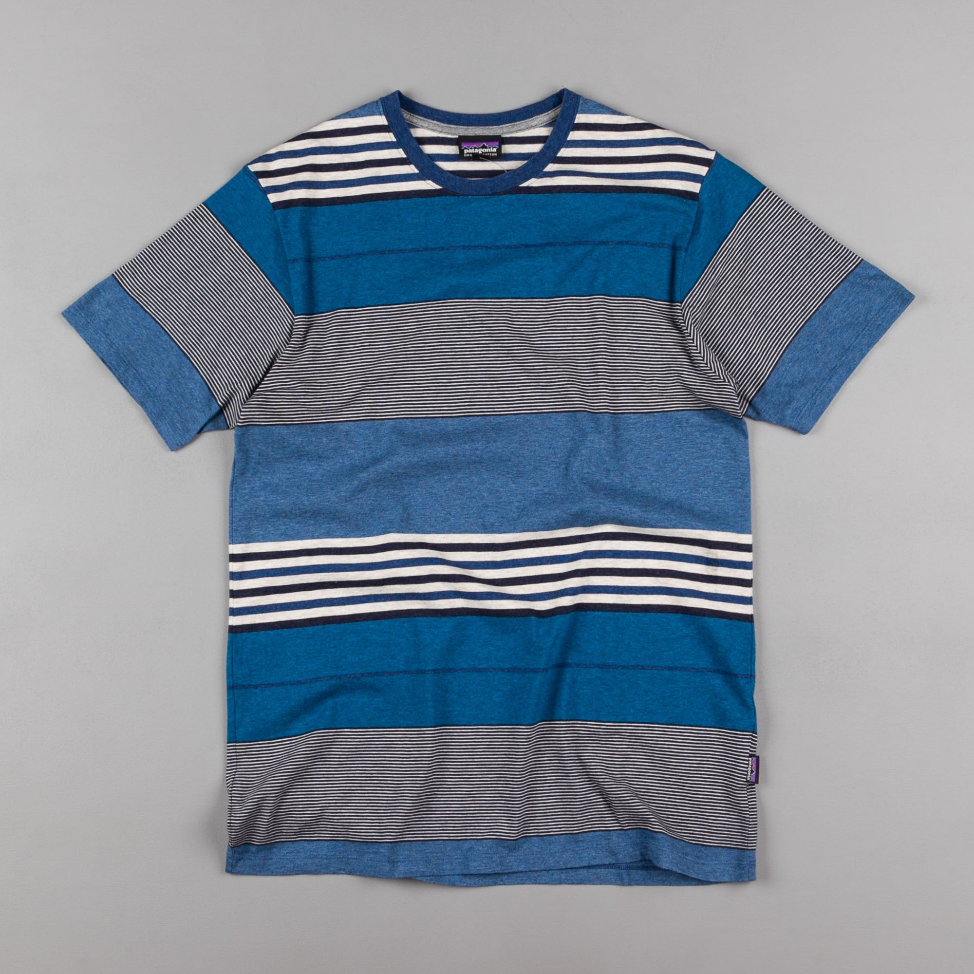 Patagonia Daily T-Shirt - Textured Fitz Stripe: Channel Blue