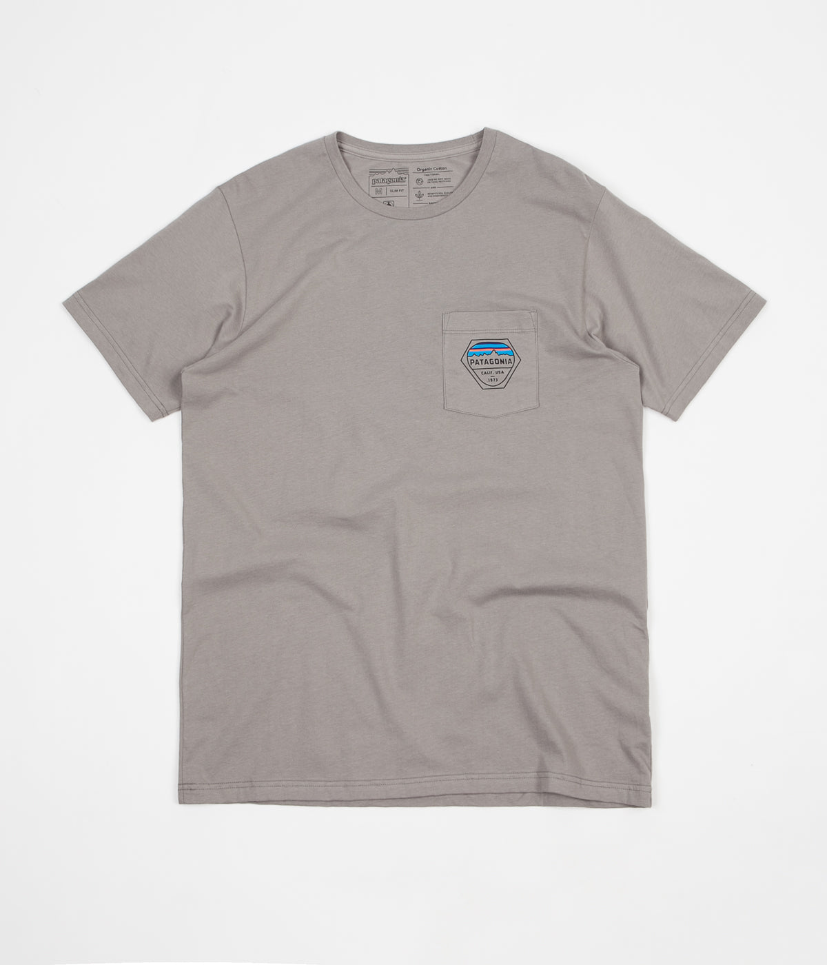 Patagonia Fitz Roy Hex Organic Pocket T-Shirt - Feather Grey