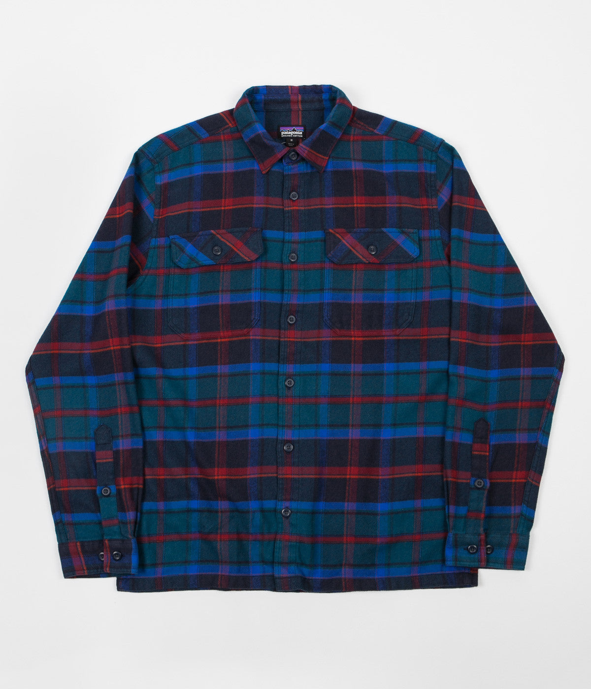 Patagonia Fjord Flannel Long Sleeve Shirt - Buckstop Plaid / Big Sur Blue