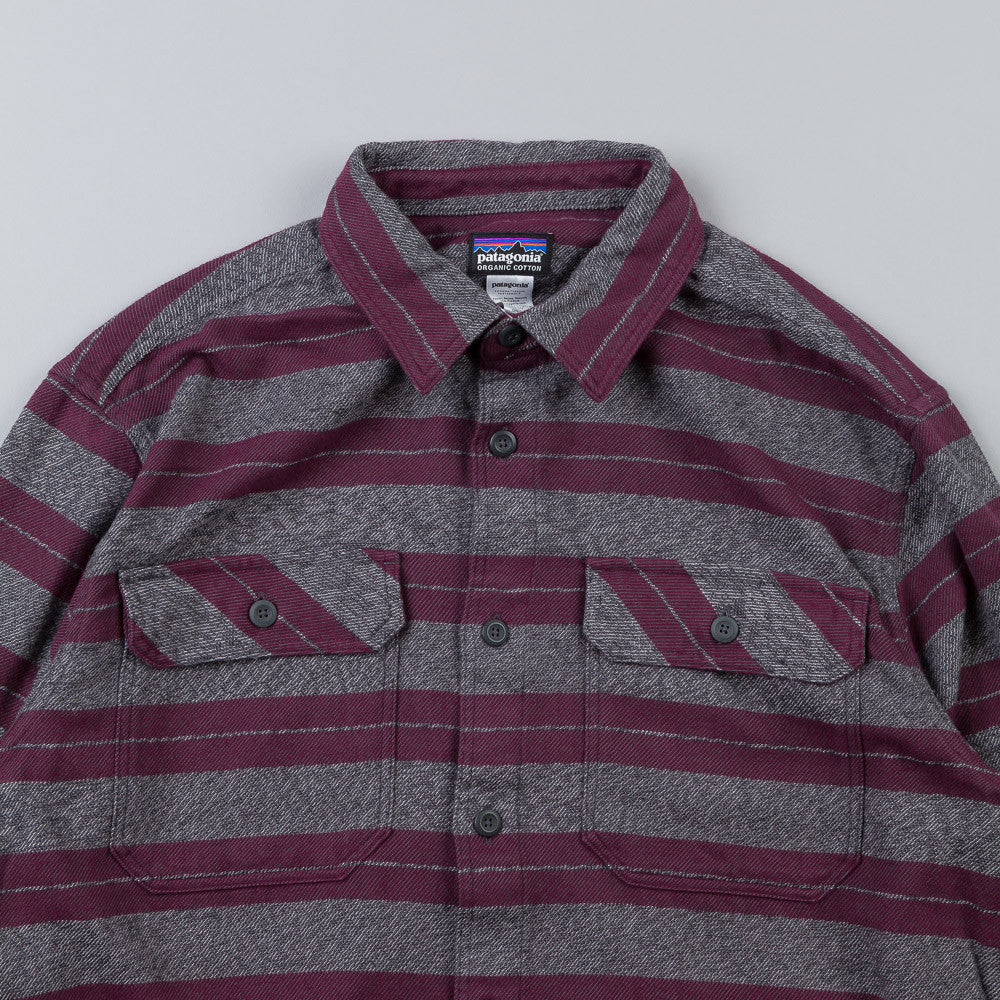Patagonia Fjord Flannel Shirt Blanket Stripe: Feather Grey