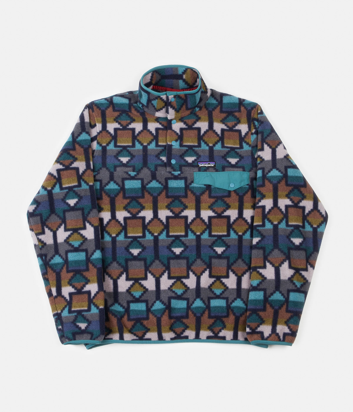 Patagonia Lightweight Synch Snap-T Pullover Sweatshirt - Cedar Mesa Big: New Navy