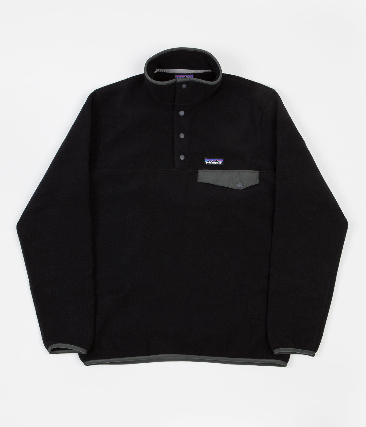 Patagonia Lightweight Synchilla Snap-T Fleece Pullover Sweatshirt - Black / Forge Grey