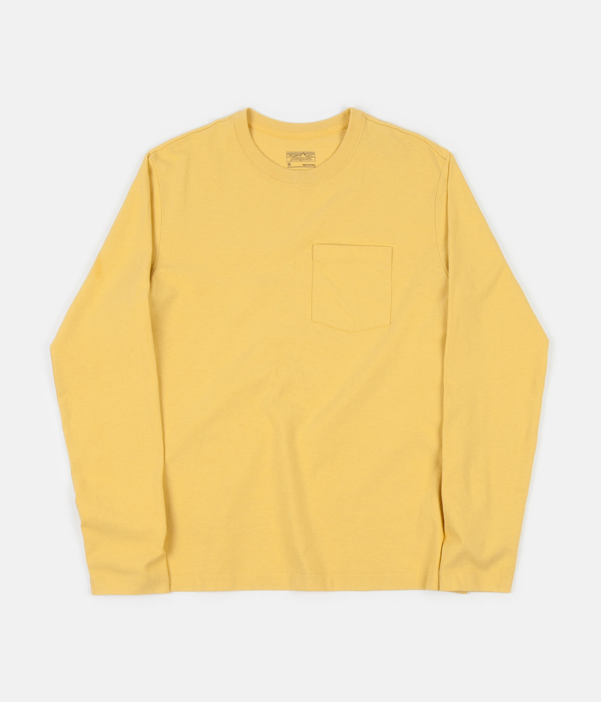 Patagonia Organic Cotton Midweight Long Sleeve Pocket T-Shirt - Surfboard Yellow