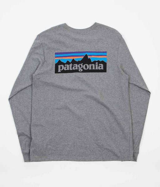 Patagonia P-6 Logo Long Sleeve T-Shirt - Gravel Heather Grey