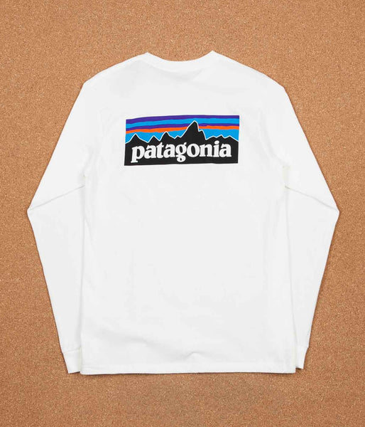 Patagonia P-6 Logo Long Sleeve T-Shirt - White