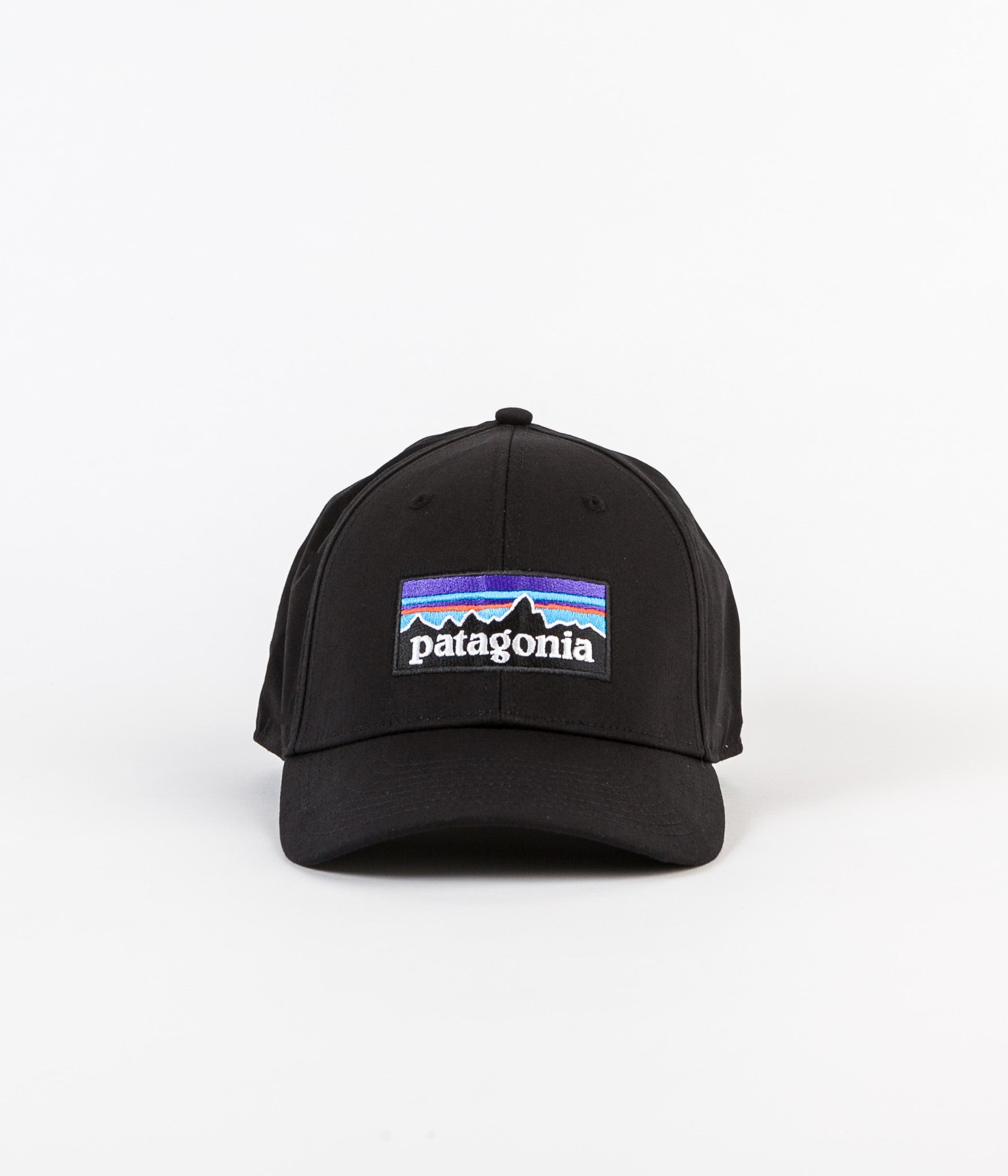 ... Patagonia P-6 Logo Stretch Fit Cap - Black ... 2cbb884b1ad