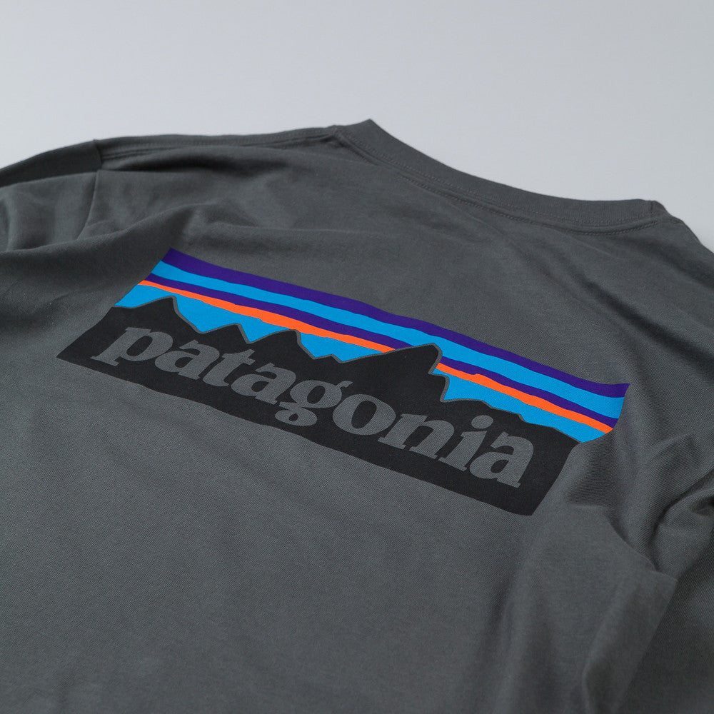 Patagonia P-6 Logo Long Sleeve T-Shirt Forge Grey