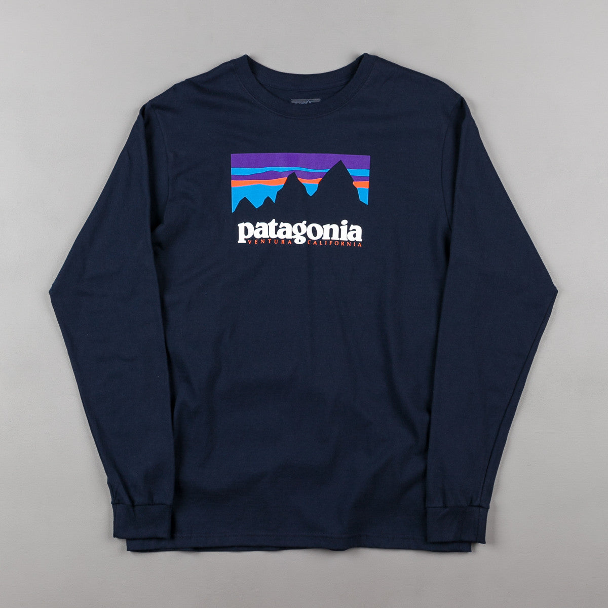patagonia shop sticker long sleeve t shirt navy blue. Black Bedroom Furniture Sets. Home Design Ideas