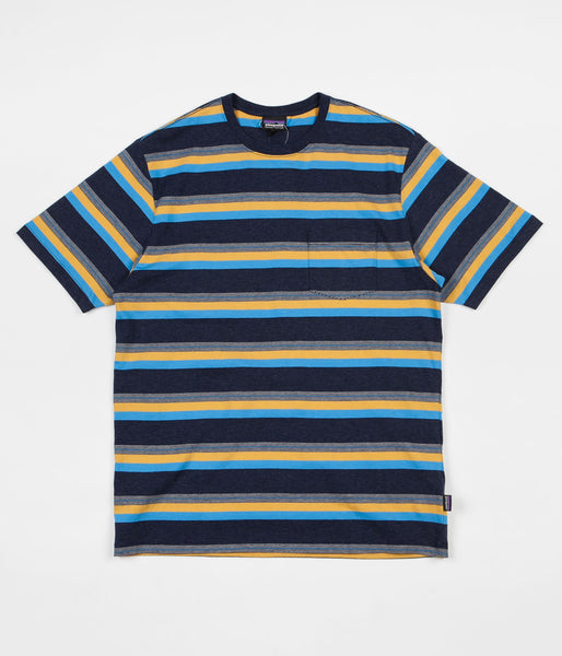 Patagonia Squeaky Clean Pocket Tee - Shorelines Small / Navy Blue